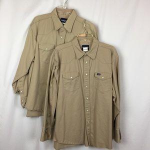 Wrangler Men's Work Shirts- Lot of Two